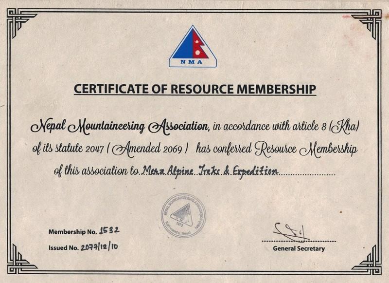 Certificate of Nepal Mountaineering Association (NMA)