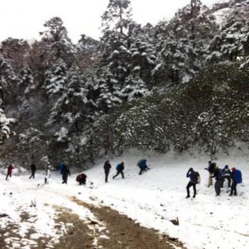 Enjoying  with Snow on Everest Gokyo Cho La Pass Trek